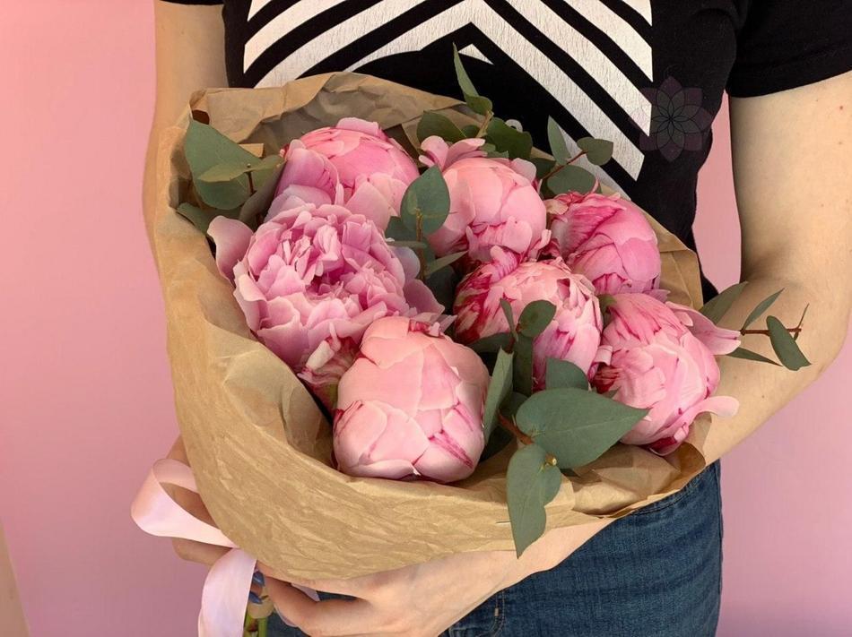Розовый букет, Букет, Пионы розовые