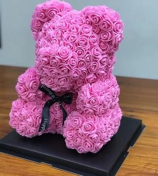 Цветочный мишка Розовый