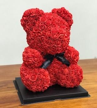Цветочный мишка Красный