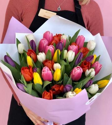 Букет 51 тюльпанов микс
