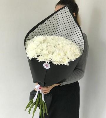 Букет из 15 Хризантем в дизайнерской упаковке