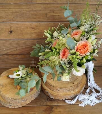 Букет невесты Mon Plaisir с пионовидной розой и эвкалиптом