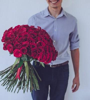 Букет из 51 розы с крупным бутоном