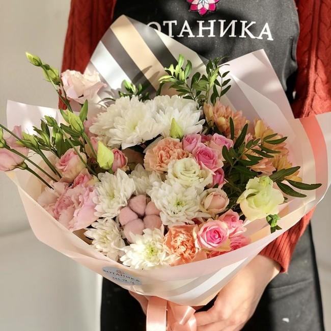 Букет с хризантемой и розой - вид 1