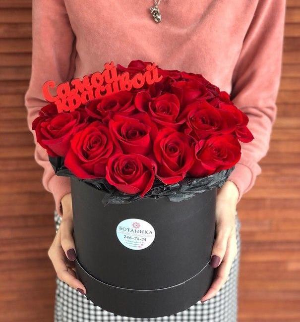 Букет в шляпной коробке с розами - вид 1