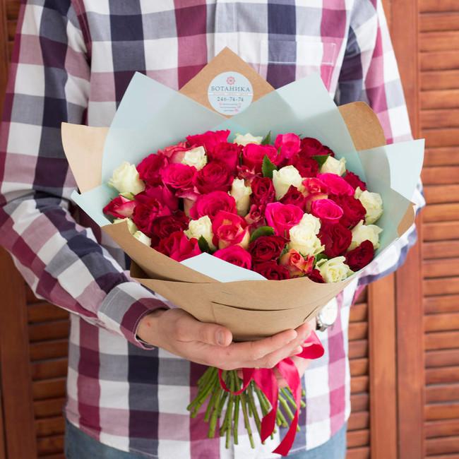 Букет из 51 розы микс - вид 1