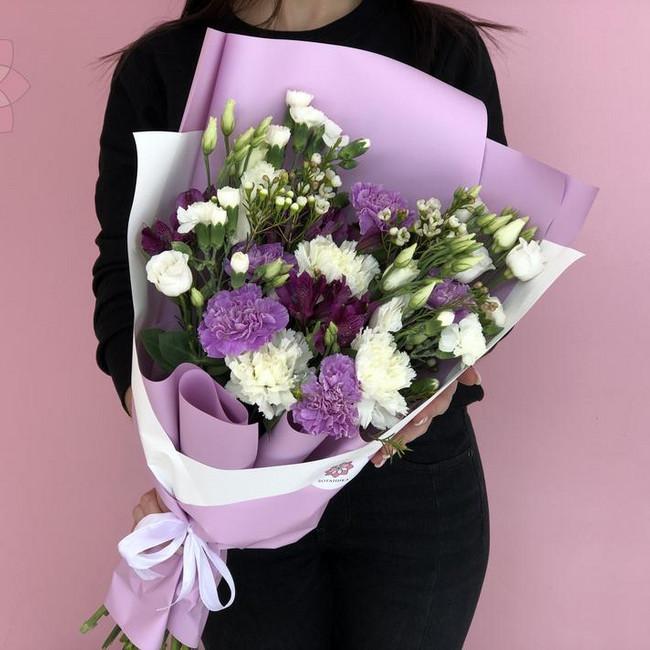 Букет Фиолет с эустомой и диантусом - вид 1