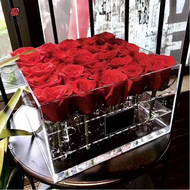 19 роз в прозрачной коробке - вид 1