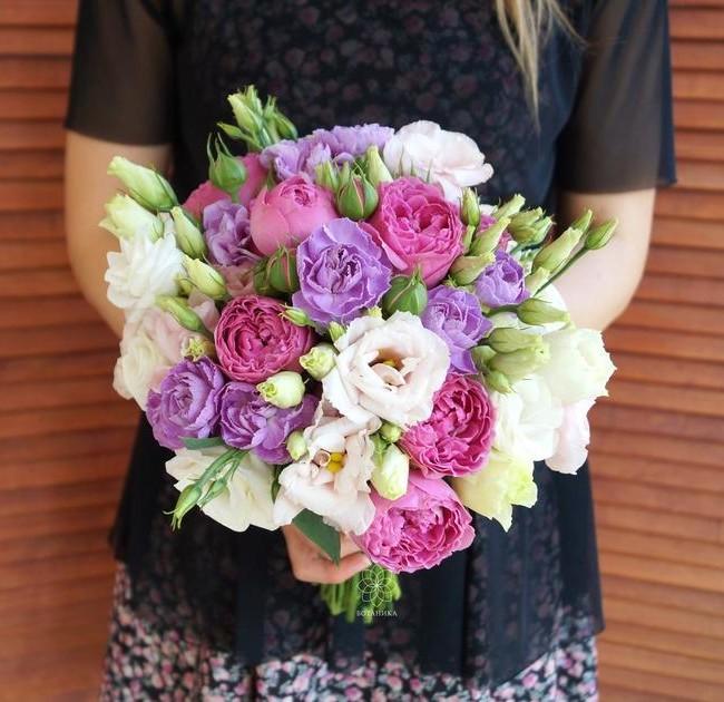 Букет невесты Кьянти с Диантусом и эустомой - вид 1